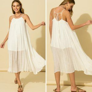 Boho Thin Strap Midi Dress